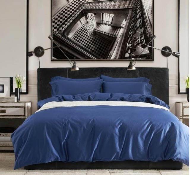 Egyptian Cotton Sheets Solid Cobalt Blue Bedding Set King Queen Size