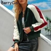 BerryGo Furry faux fur coats winter outwears 2018 Casual zipper warm bomber jackets women Fake fur autumn coats female outwears