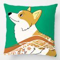 Holiday Welsh Corgi Cartoon With Red Ribbon Throw Pillow Case Decorative Cushion Cover Pillowcase Customize Gift For Sofa Seat