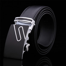 Men's fashion Accessories brand belts high quality geniune leather automatic buckle black belt for men male sale free shipping