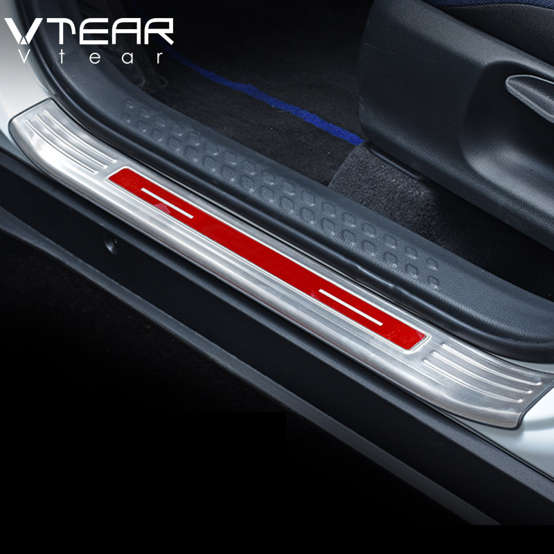 Vtear For Toyota C HR CHR Car Stainless Steel Door Sill Protector Pedal Scuff Plate Cover