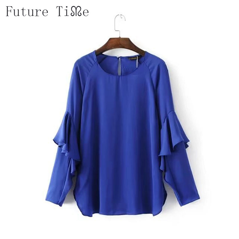 Future Time Womens Tops And Blouses Blue Solid Ruffles Clothes For Women O-Neck Collar Long Sleeve Back Button Women Blouse SC12