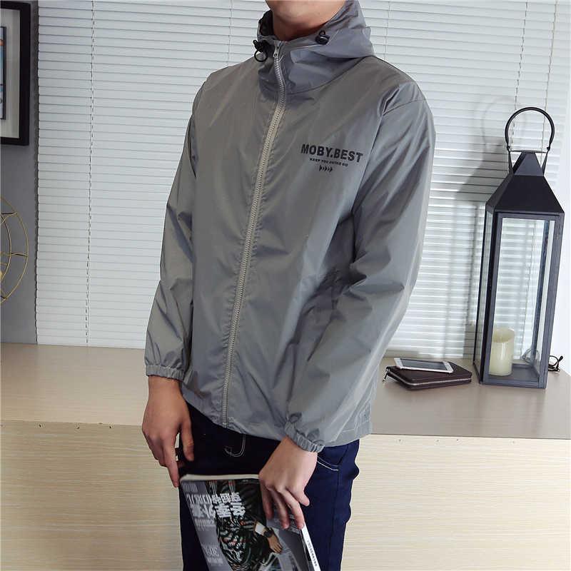 Mannen Lente Nieuwe full 3 M reflecterende Windjack mannelijke Streetwear hip hop gedrukt Losse Hooded Jassen fluorescerende kleding