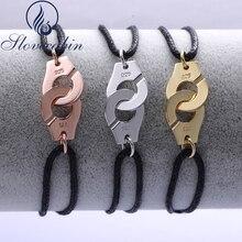 Slovecabin 2017 Франция подлинные 925 стерлингов серебристый, черный из бечёвки menottes наручники браслет для Для женщин стерлингового-серебро-ювелирные изделия