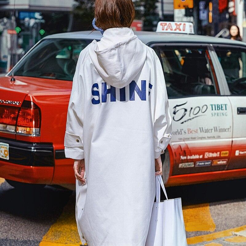 Nouveauté De Coton Taille 2019 navy À Street Printemps Manteau Trench Longue White Blue High Grande 100 Capuchon Mode Surdimensionné Femmes coat q7pzxww5vS