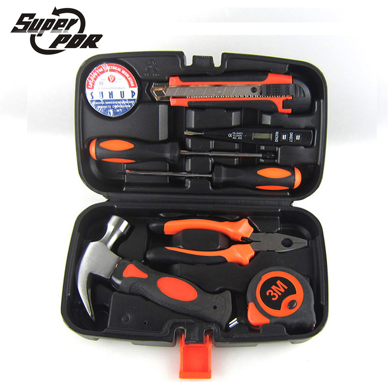 Super PDR tools Household hand Tool Set Home Repair Kit Claw hammer Wire pliers Cross screwdrive Knives 9 Piece Mechanics Tools quality 9 in 1 flexible hose clamp plier kit pliers tool set with case auto vehicle tools cable wire long reach car repair tools