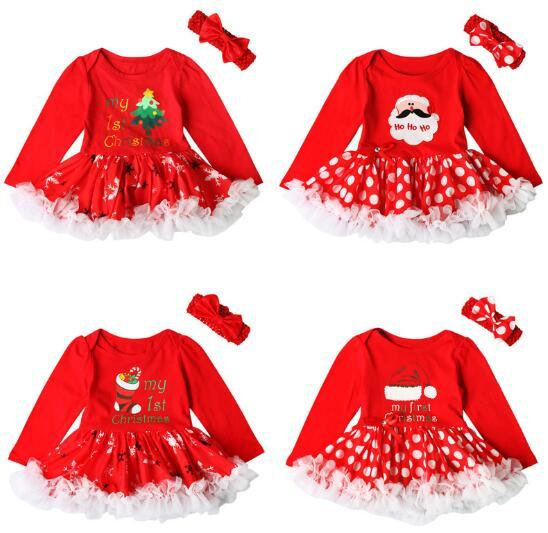 Baby Girls Outfits Newborn Infant My First Christmas Tutu Dress Up Baby  Christmas Lace Dress + Hair Band Two Set - Baby Girls Outfits Newborn Infant My First Christmas Tutu Dress Up