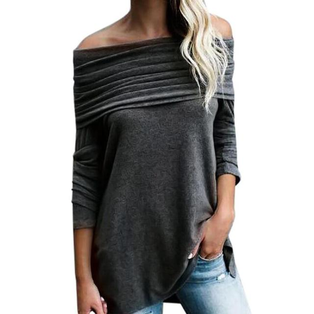 8b4ff52352defc Sexy Women Loose Long Sleeve Off Shoulder Strapless Tops Ruched Blouse  Shirt blusas mujer de moda