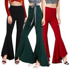 Зимние Стрейчевые узкие женские брюки с высокой талией, брюки размера плюс для бега, женские брюки-клеш, Черные Мешковатые женские брюки