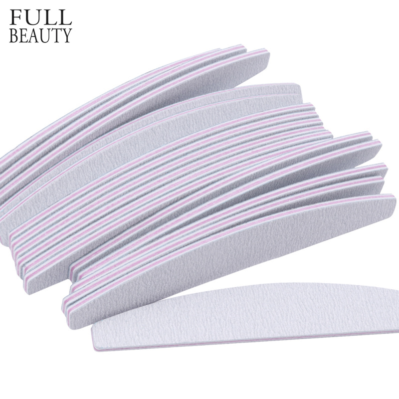 Full Beauty 5pcs Nail File Sanding Half Moon 100/180 Grey Buffer Block For Manicure Polishing Tools Nail Art Accessory CH831