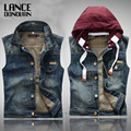 New 2016 Vintage Denim Motorcycle Vest Men With Hooded Ripped hole jean Waistcoat Slim Sleeveless Colete Masculino
