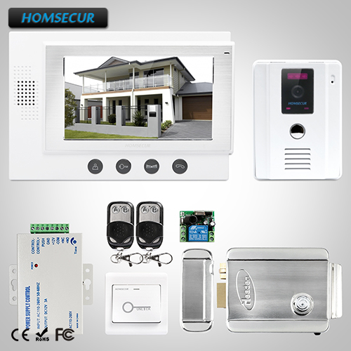 HOMSECUR 7 Wired Video Door Entry Security Intercom Electric Lock+Keys Included: TC011-W Camera (White)+TM701-W Monitor (White)HOMSECUR 7 Wired Video Door Entry Security Intercom Electric Lock+Keys Included: TC011-W Camera (White)+TM701-W Monitor (White)