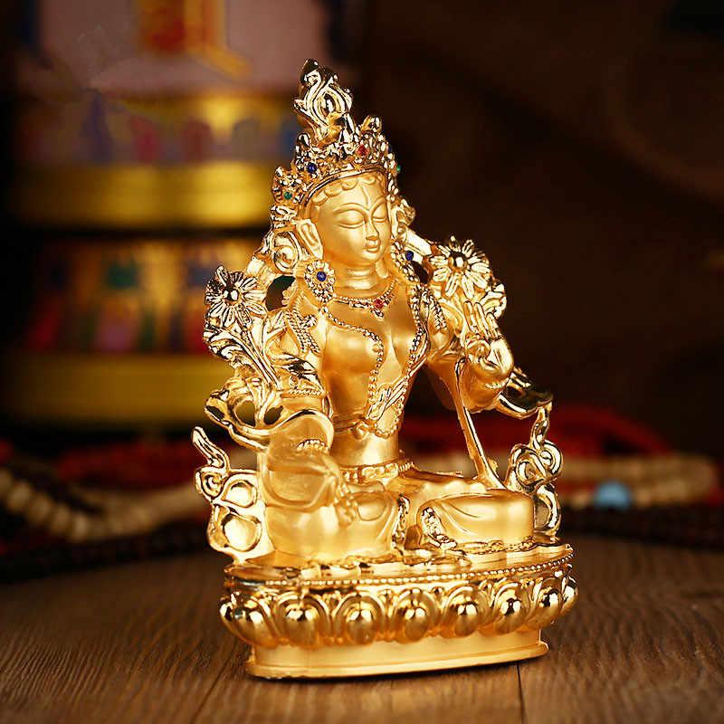 Efficacious Green Tara Tranic Gilding 14cm Gold Buddha Alloy Metal Buddhist Suppliers Home/ Office Decorate Statue Craft
