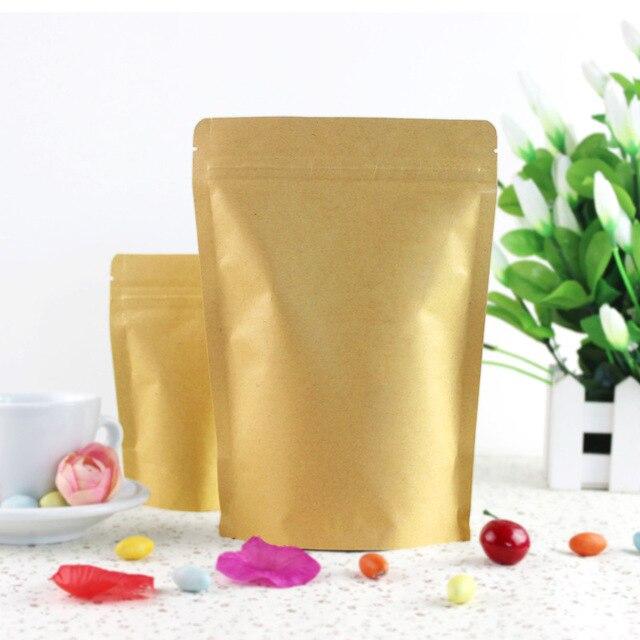 100pcs/Lot Zipper Brown Kraft Aluminizing Pouch,Stand Up Kraft Paper Aluminium Foil Bag Resealable Zip Lock Grip Seal Food Grade