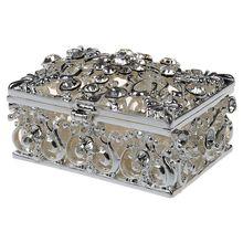 Hot Small Rhinestone Embellished Hollow Jewelry Storage Gift Trinket Box  Silver(China)