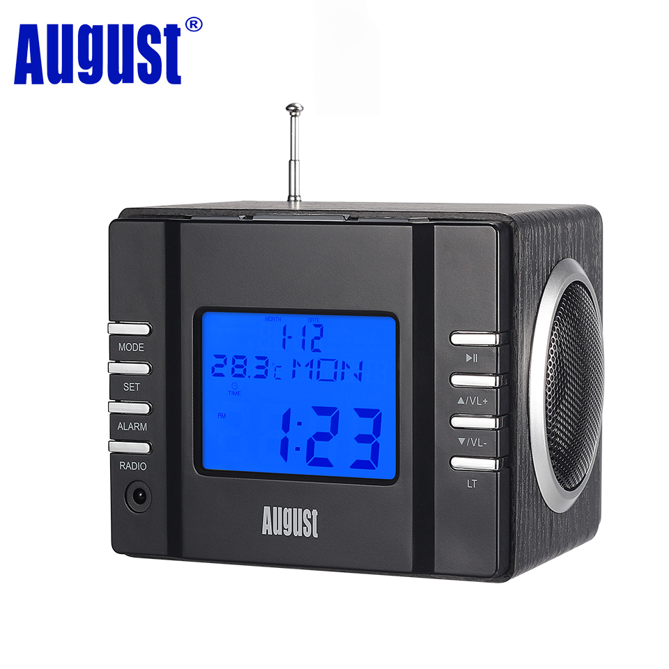 August MB300H Mini Wood FM Clock Radio Receiver with MP3 Stereo System 2 x 3W HiFi Loud Speaker with SD Card/USB IN /AUX IN tivdio portable fm radio dsp fm stereo mw sw lw portable radio full band world receiver clock