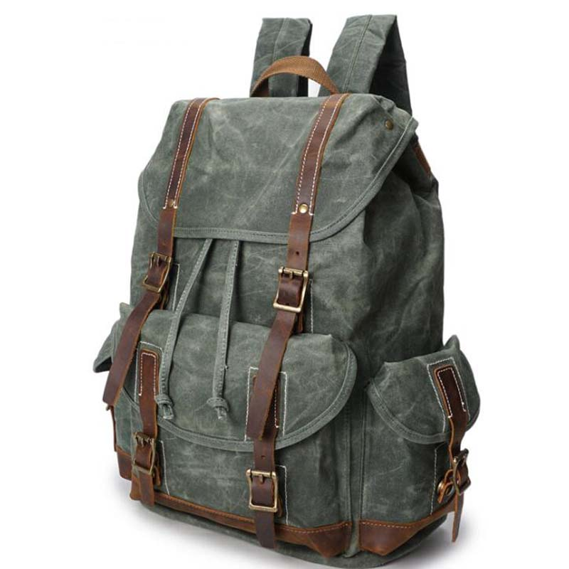 Canvas Sturdy Men's Backpack Vintage Waterproof Canvas School Bag Men's Travel Navy Bags Large Capacity Travel Laptop Rucksack