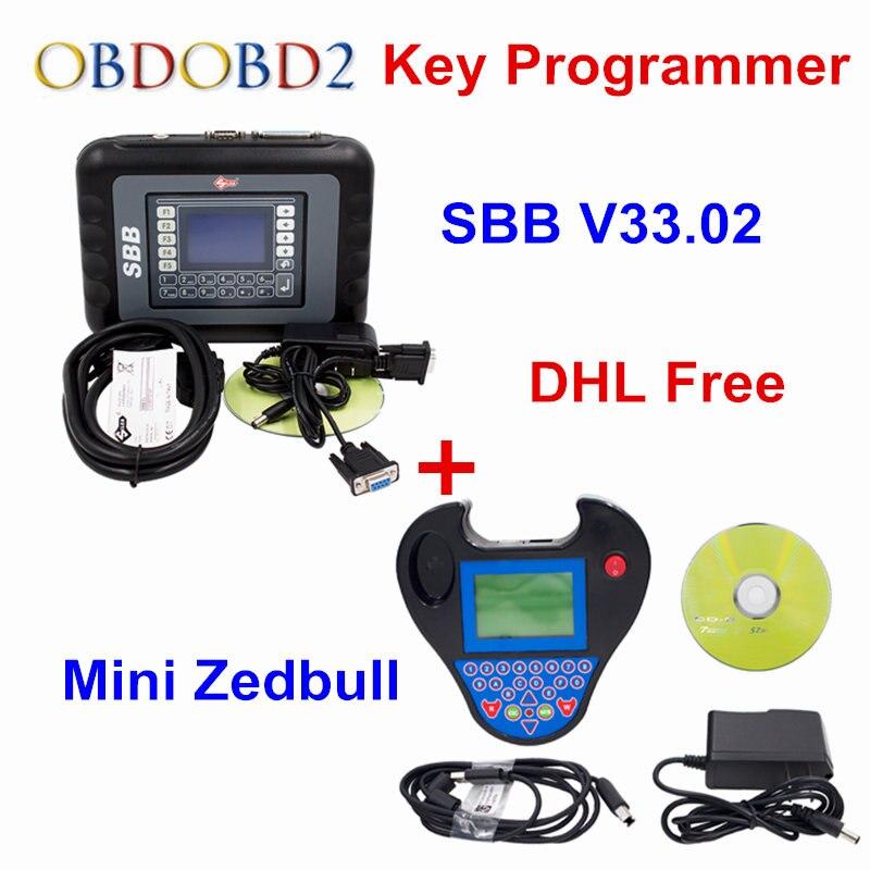 DHL Free Auto Key Programmer PRO OBD2 Transponder Silca SBB V33.02 OR V46.02&Mini Zed Bull SW V508 Works Multi-Car Key Maker
