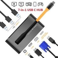 James Donkey 7 in 1 USB C Hub Thunderbolt 3 Hub Universal Laptop Docking Station with HDMI/VGA and Gigabit Ethernet for Apple