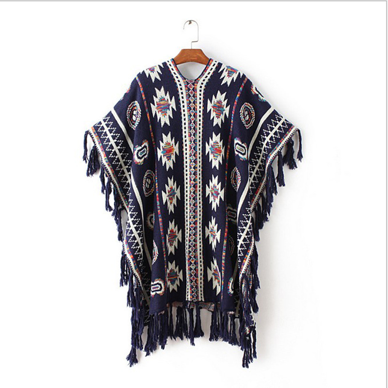 Կանայք 3 գույներ Aztec Long Cardigan Vintage Geo Pattern - Կանացի հագուստ - Լուսանկար 3