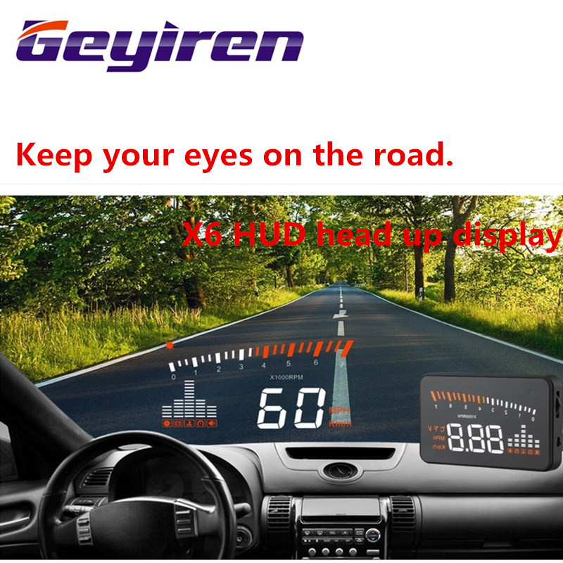 """imágenes para GEYIREN Digital Del Velocímetro Del Coche Auto Car HUD Head Up Display parabrisas Proyecto KM/h MPH Velocímetro GPS Alarma de la velocidad Excesiva X5 3"""""""