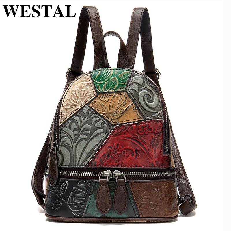 WESTAL Female Backpack School-Bag Rucksack Women Floral Vintage Genuine-Leather Small/mini
