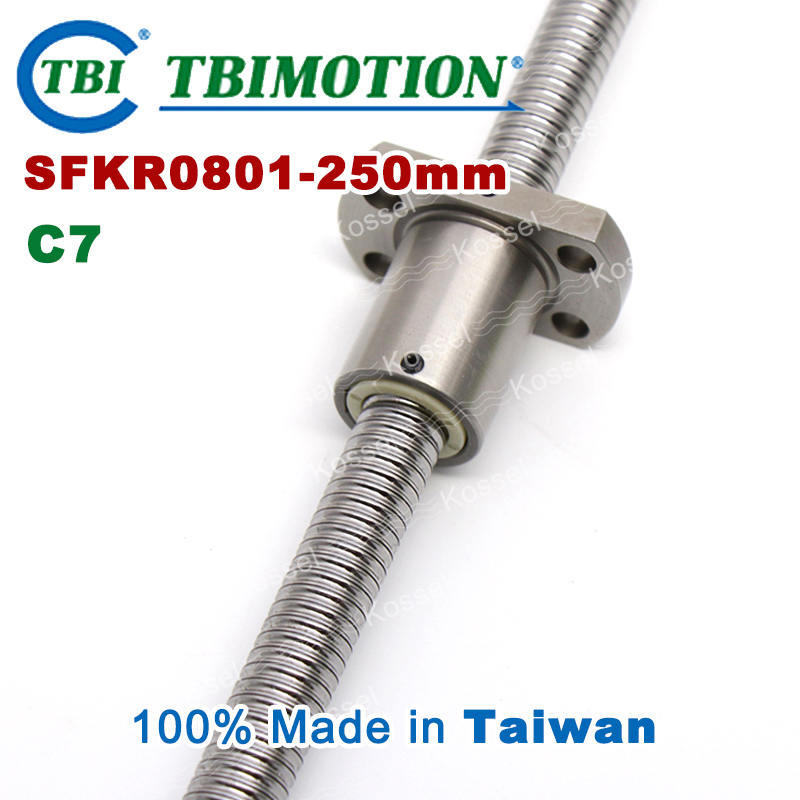 TBI ballscrew 0801 C7 250mm with SFK ball nut SFK0801 + end machined for high stability CNC kit set
