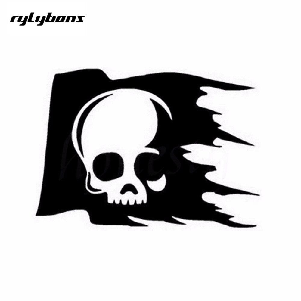 Half price 2nd rylybons skull flag creative car sticker glass window wall decals 16x11 5