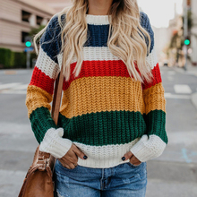Fashion Patchwork Striped Women's Pullovers 2019 Autumn Winter New Rainbow Knitted Sweaters Casual O-neck Sweaters pink scoop neck patchwork splited hem thin sweaters