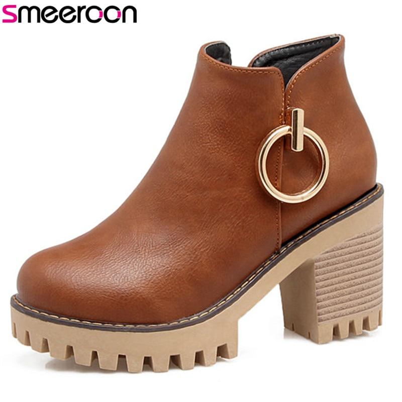 Para Metal White Altos negro Decoración Mujer Smeeroon Moda brown Zip Mujeres Botas Zapatos Tacones Plataforma Otoño Invierno gray qYU6PS