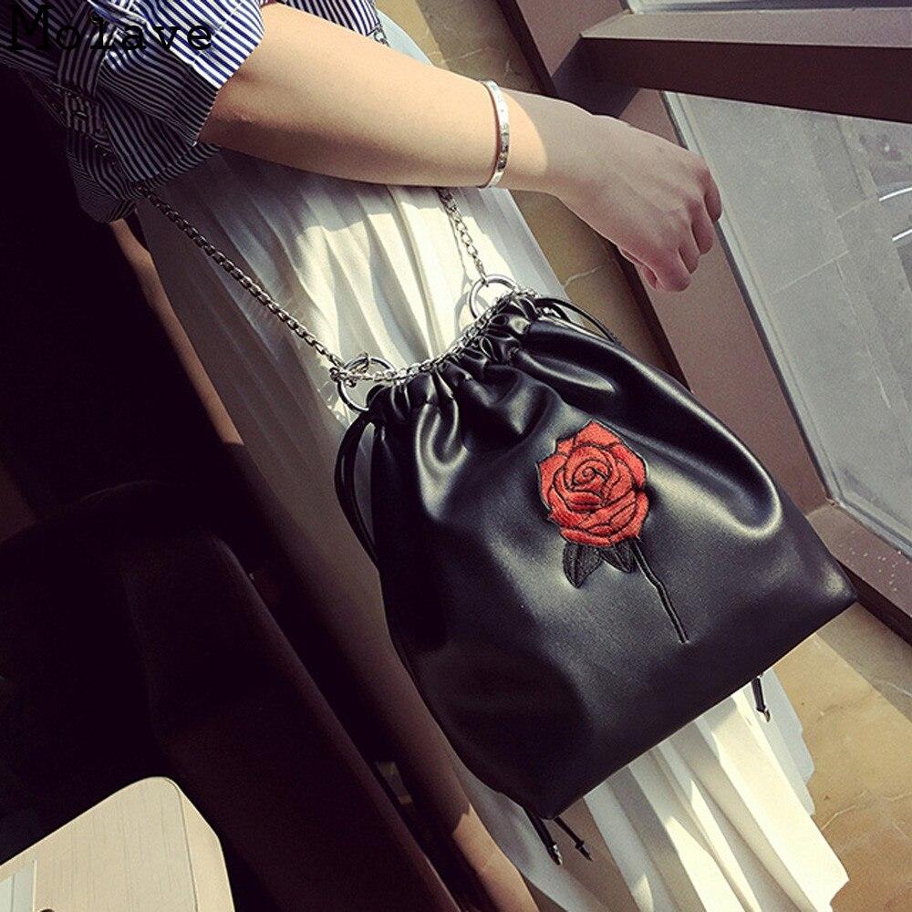 2017 New  Fashion Women Roses Drawstring Chains Pu Leather Crossbody Bag Female Elegant Shoulder Bag Ladies Messenger Bag Feb25