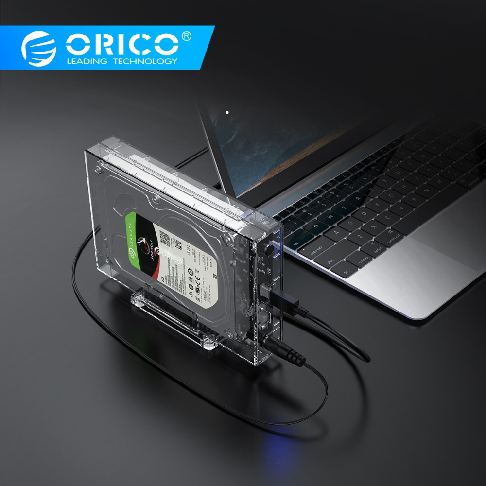 ORICO Transparent HDD Enclosure 3.5 SATA To USB3.0 External Hard Drive Case Box With Holder 12V2A Power Adapter Support 12TB Max