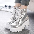 2015 Lace Up High Heels Women Punk Style Ankle Boots,Thick Bottom Platform Shoes,European Motorcycle Leather Boots 6 colors