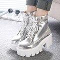 2015 Lace Up Tacones Altos Mujeres Botines Estilo Punk, Zapatos de Plataforma de Fondo Grueso, Botas de Cuero de La Motocicleta Europeo 6 colores