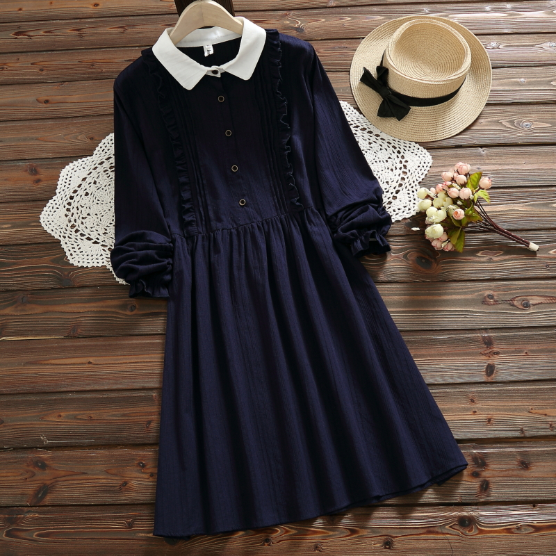 Blue,Pink Vintage Dress Spring Autumn Women Long Sleeve Cotton and Linen Dresses Ruffles Solid Color