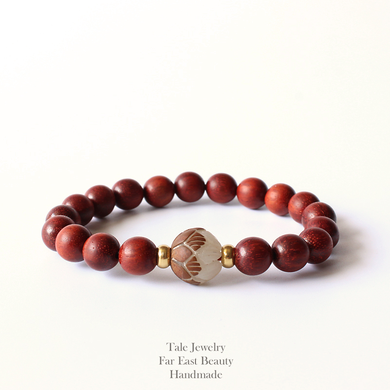 2017 New Tale Design Natural Red Sanders Wood Beads White Bodhi Seed Carved Lotus Flower Bracelet For Women Unique Jewelry In Strand Bracelets From