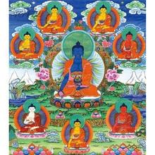 מיכלאנג לו 500 פרקט חתיכה רפואה בודהה Bhaisajyaguru הבודהיסטי הטיבטי Thangka ציור אמנות DIY אספנות