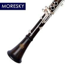 MORESKY Профессиональный Кларнет из черного дерева A/C мелодия 17 ключ Посеребренная медь одноцветное деревянный кларнет MA68