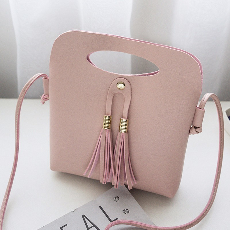 Simple Fashion Ladies Candy Color Tassel Bucket Tote Mini Handbag New Arrival Women Female PU Leather Shoulder Bag Popular