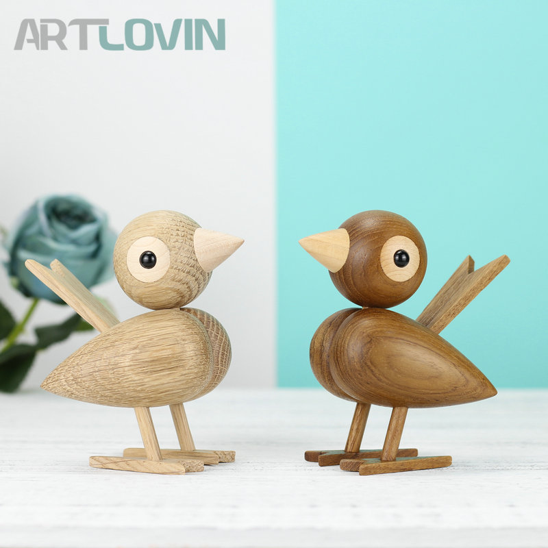 Nordic Denmark Solid Oak Wooden Sparrow Puppet Lovely Nature Teak Wood Bird Ornament Home Decor Wall Shelf Decoration Figurines