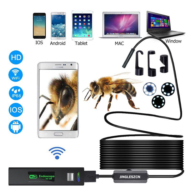 WIFI Endoskop Kamera HD 1200 P 1-10 M Mini Wasserdicht Harten Draht Drahtlose 8mm 8 LED Endoskop kamera Für Android PC IOS Endoskop