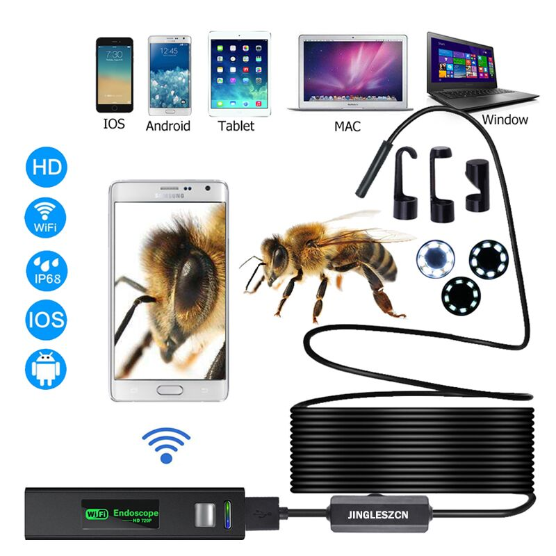 Cámara endoscópica WIFI HD 1200 P 1-10 m Mini impermeable duro cable inalámbrico 8mm 8 LED boroscopio cámara para Android PC IOS endoscopio