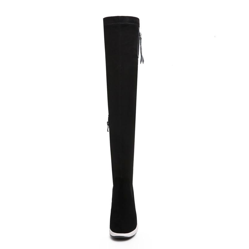 Zvq Concise À Cuissardes Super Haute Zipper Black Bout Offre Coins Spéciale Noir Peluche Pour Chaud Femmes En Plateforme D'hiver New Chaussures 2018 Rond rIFOIwqz
