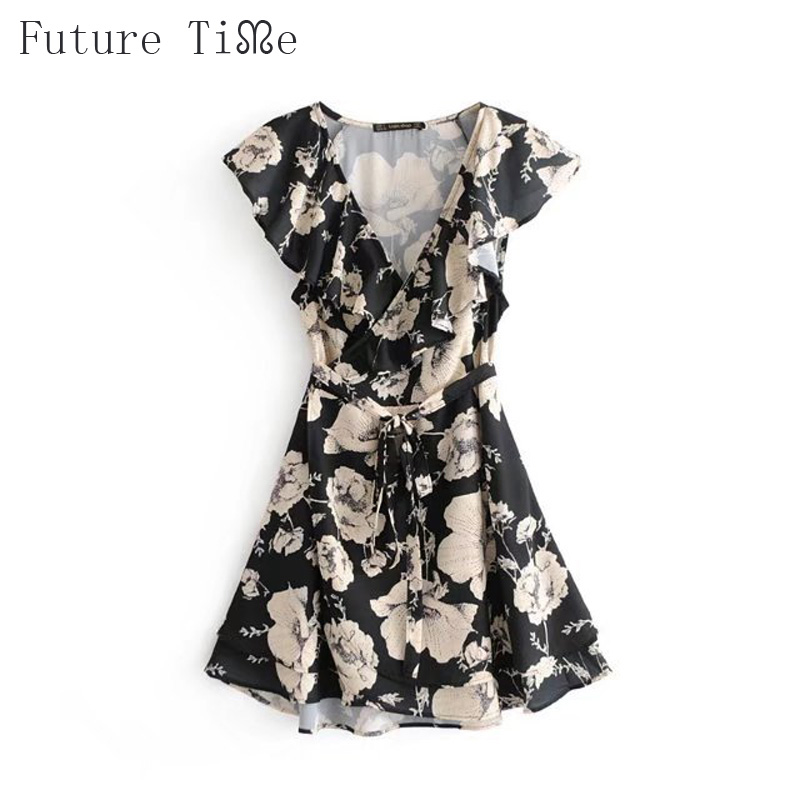 Future Time Embroidered Sheer Mesh Insert Tie Back Shift Dress Women Dress Flower Black Lapel Short Sleeve Transparent Dress