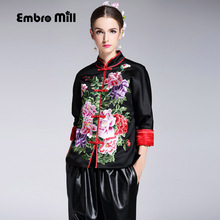 High quality womens tops autumn winter Chinese style royal embroidered short black thick vintage warm coat jacket female S-XXL