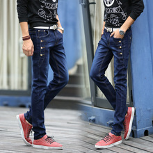 Мода 2017 лето повседневный тонкий подростки hip hop тощие джинсы ноги прямые мужской брюки эластичный кнопка досуг брюки