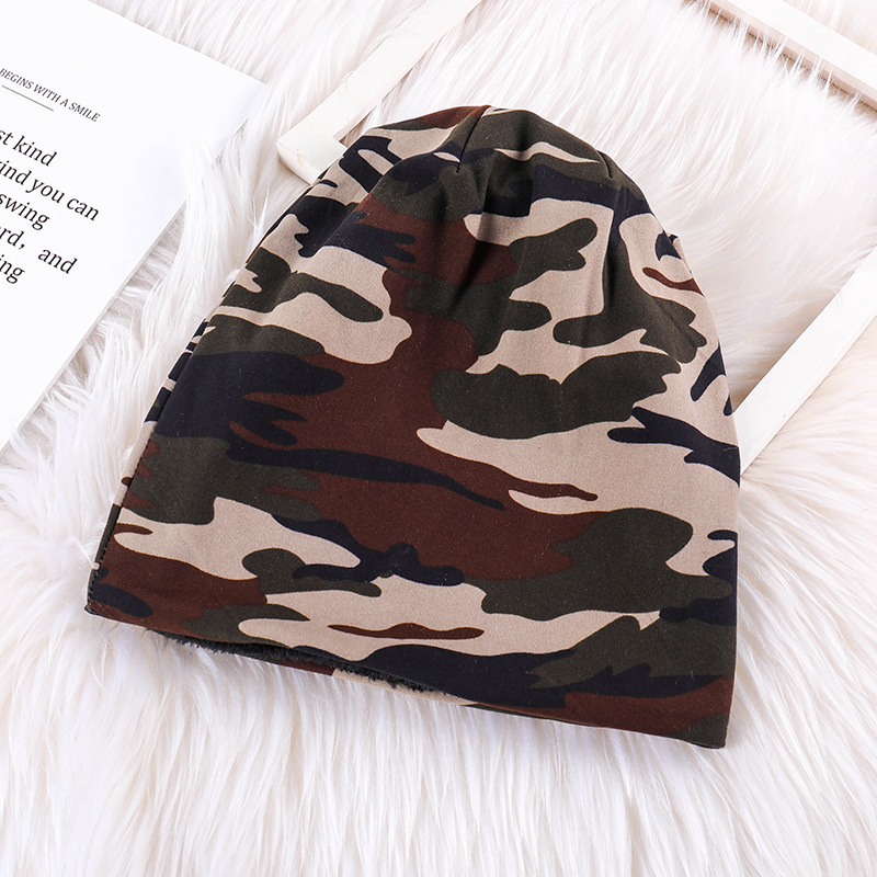 New Autumn and Winter Knitted Hat for Men Camouflage Cotton Caps Fashionable Outdoor Casual Boy