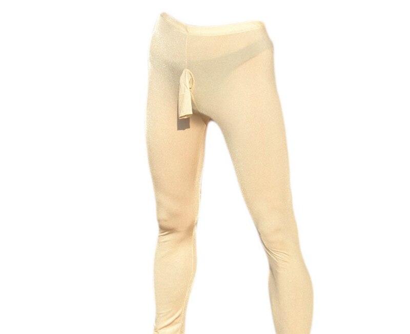 Men Hot Ice Silk Breathable Open Sheath Ankle Length Pants Male Lingerie Butt Exposure Sex Pajama Sleep Bottoms