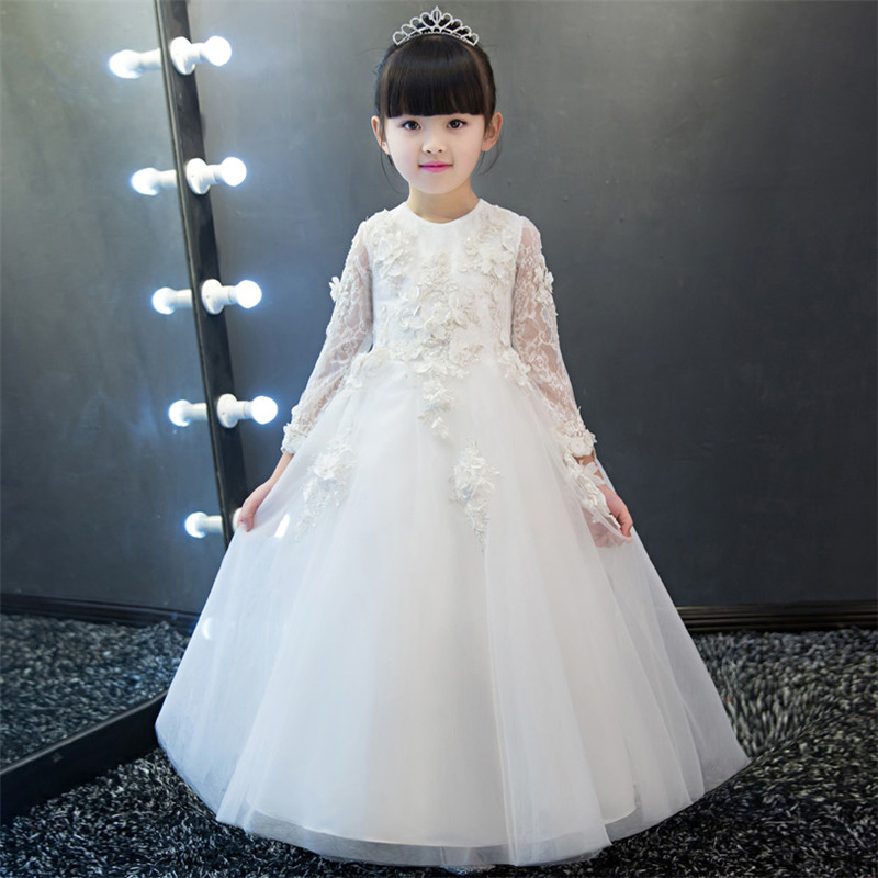 2018 Spring New Children Girls Noble Luxury White/Pink Birthday Wedding Party Embroidery Lace Long Dress Kids Babies Prom Dress2018 Spring New Children Girls Noble Luxury White/Pink Birthday Wedding Party Embroidery Lace Long Dress Kids Babies Prom Dress