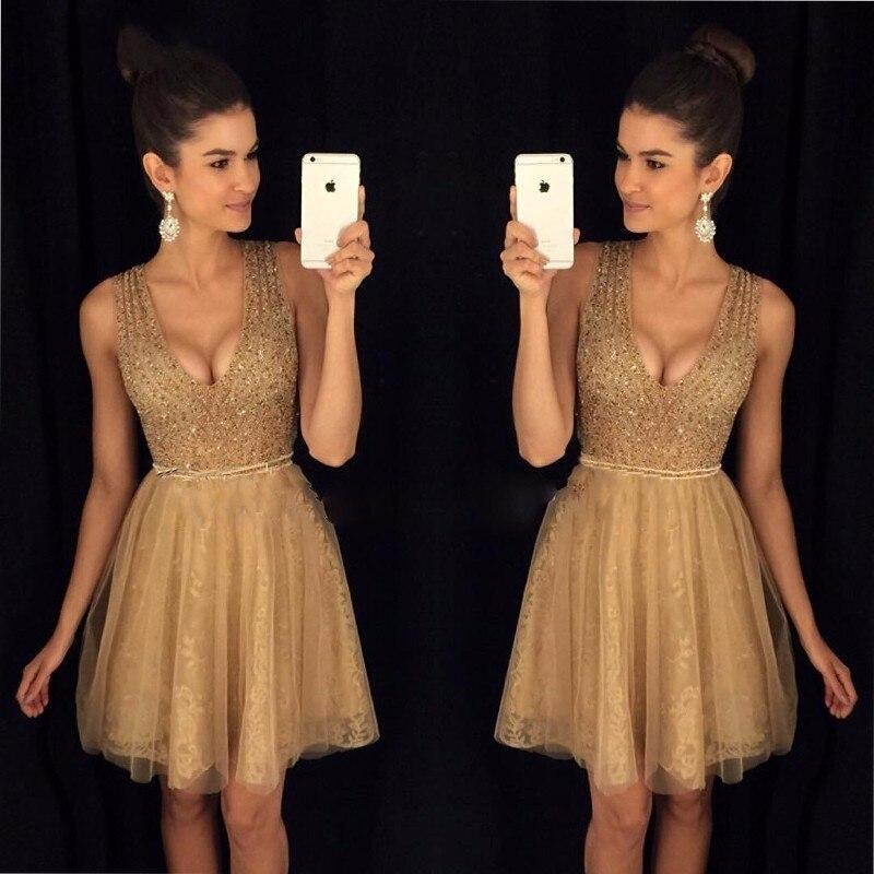 Champagne Gold Cocktail Dresses 2017 Sexy V Neck Abendkleider